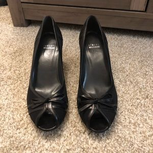 Stuart Weitzman Black Peep-toe Wedge - 9.5 M